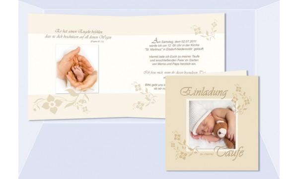 Einladung Taufe, Taufeinladung, Klappkarte 12,5x12,5 cm, beige creme