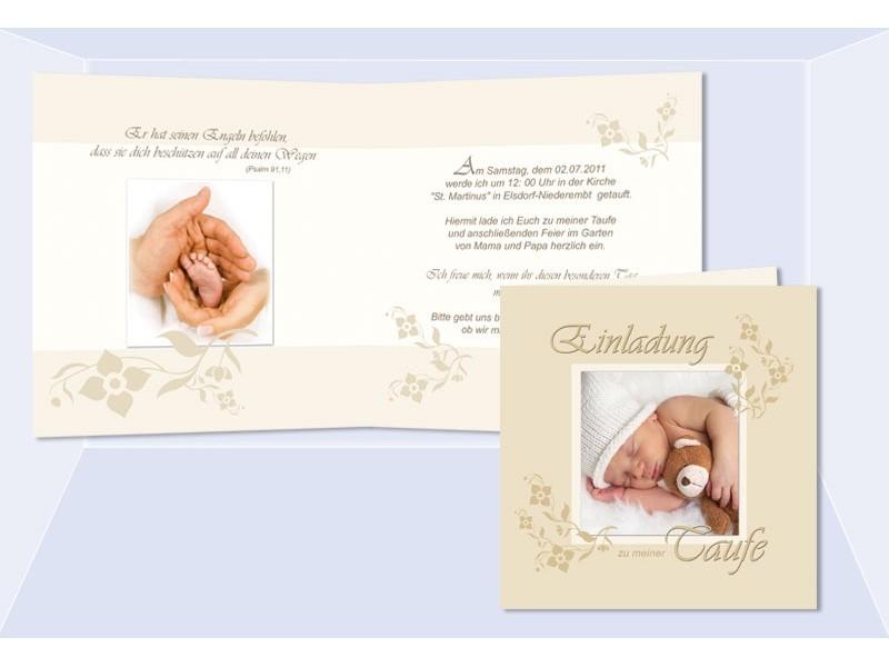 Einladung Taufe, Taufeinladung, Fotokarte, Einladungskarten, beige ...