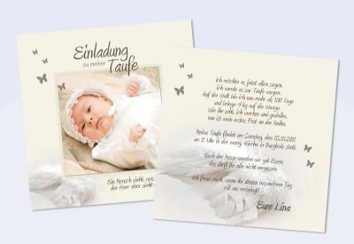 Einladung Taufe Flügel Taufeinladung Weiß Creme