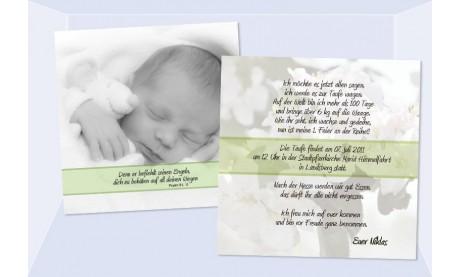"Einladung Taufe ""Niklas"", Taufeinladung, Flachkarte 12,5 x 12,5 cm, grau, grün"