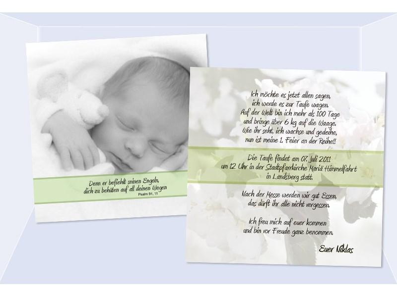 "Einladung Taufe ""Niklas"", Taufeinladung, Flachkarte 12,5 x 12,5 cm ..."
