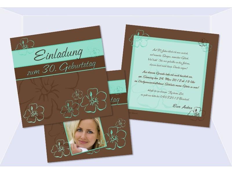 Einladungskarte 30. 40. 50. 60. 70. 80. Geburtstag, zweiseitig lila