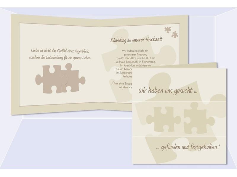 Einladungskarten Hochzeit, Hochzeitskarte, Puzzle