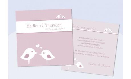 """Einladungskarte Hochzeit """"Vögelchen"""", Flachkarte 12,5x12,5 cm, flieder"""