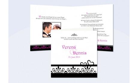 """Einladung Hochzeit """"Ranke"""", Klappkarte Quadrat, schwarz pink weiß"""