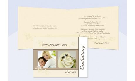 Einladungskarte Hochzeit, Klappkarte A6, creme