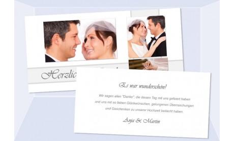 Danksagungskarte, Karte Hochzeit, weiß grau