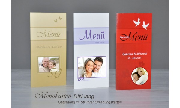Menükarte, Getränkekarte, Hochzeitsmenü, Klappkarte DIN Lang