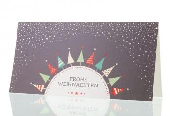 """Weihnachtskarte für Firmen, """"Bunte Tannen"""""""