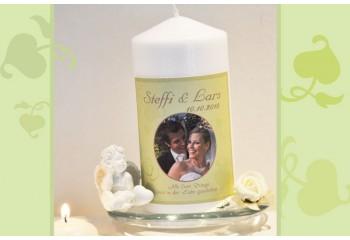 Traukerze zur Hochzeit, mit Foto und Taufspruch, Fotogestaltungm, grün