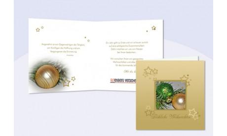"""Weihnachtskarte mit eingedrucktem Text und Logo """"Weihnachtskugeln"""""""