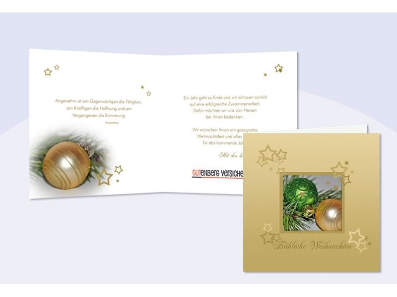 weihnachtskarte mit eingedrucktem text und logo weihnachtskugeln. Black Bedroom Furniture Sets. Home Design Ideas
