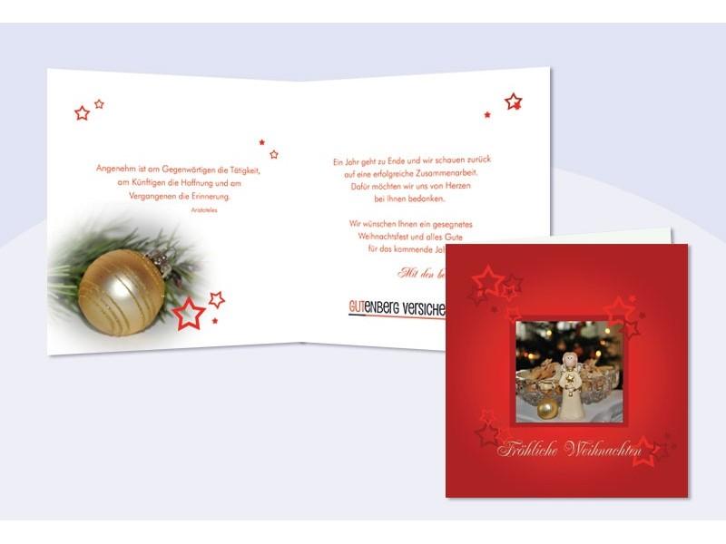 weihnachtskarte mit eingedrucktem text und logo. Black Bedroom Furniture Sets. Home Design Ideas