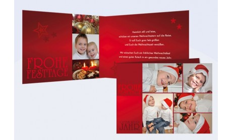 Klappkarte Weihnachten, Weihnachtskarte Klassik, 10x15 cm, 4-seitig, Nikolaus Kinder rot