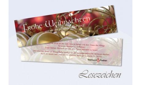 Lesezeichen Weihnachten, 5x20 cm, geschäftlich, Kugelzauber, rot gold