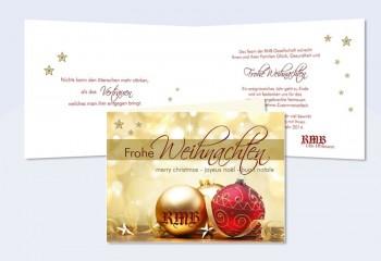 """Weihnachtskarte, Karte Weihnachten geschäftlich """"Lichterglanz"""" gold rot"""