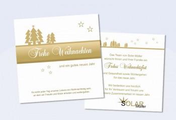 """Weihnachtskarte geschäftlich mit Logo- und Firmeneindruck """"Tannenzauber"""" gold"""
