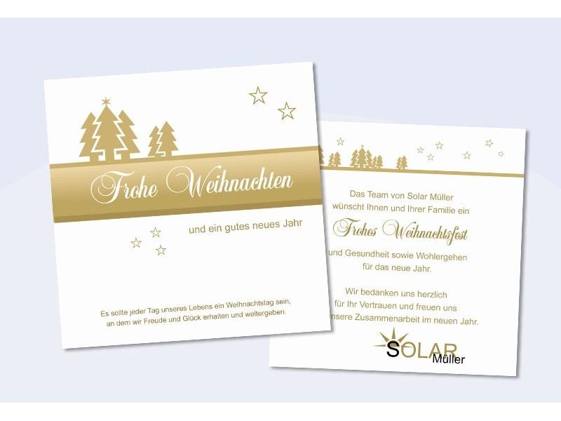 """Firmen Weihnachtskarte """"Tannenzauber"""" in gold"""
