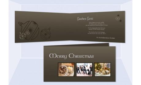 """Weihnachtskarte DIN Lang, Karte Weihnachten geschäftlich """"Teamgeist"""" braun"""