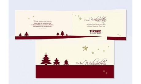 """Weihnachtskarte geschäftlich, DIN Lang, """"Tannenzauber"""" in rot"""