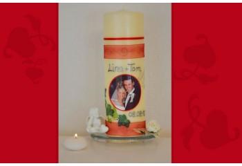 Traukerze, Kerze zur Hochzeit mit Foto + Trauspruch, Wachskreation, rot