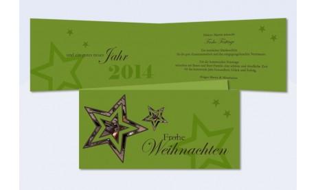 """Weihnachtskarte geschäftlich, DIN Lang, """"Sternenzauber"""" in grün"""
