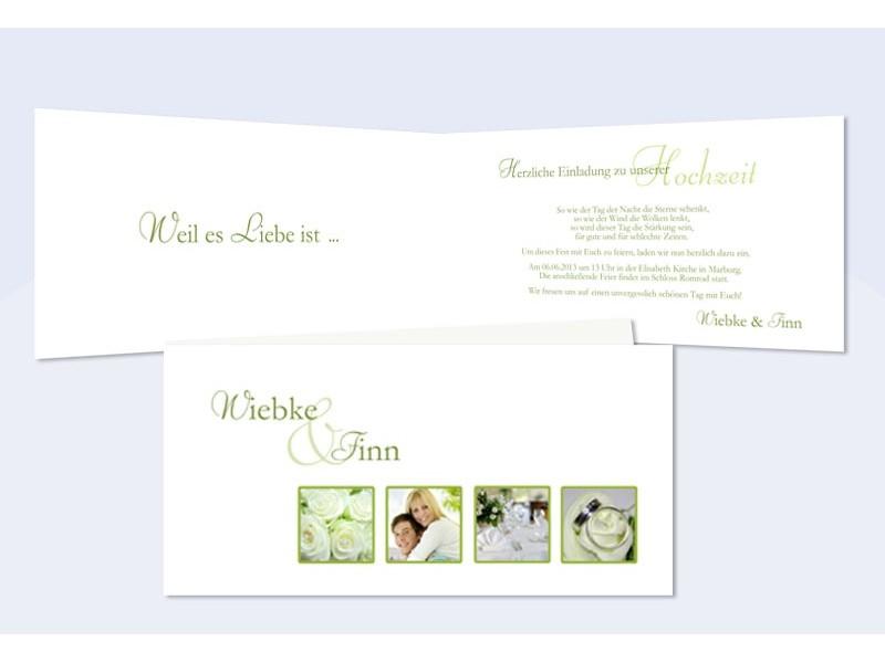 Einladungskarte Hochzeit DIN Lang, Weiß Grün