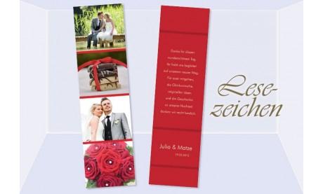 Danksagung Hochzeit, Lesezeichen / Karte , rot
