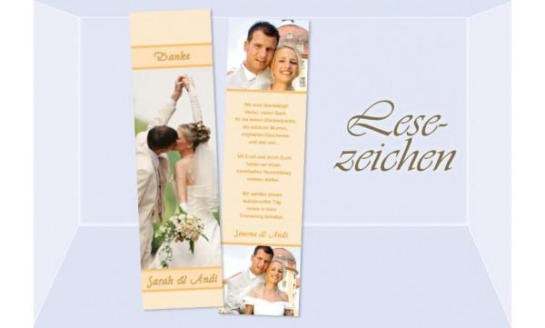 Danksagung Hochzeit, Lesezeichen / Karte , aprikot