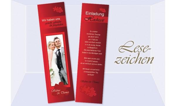 Lesezeichen Einladung Hochzeit, 5x20 cm, Puzzle rot