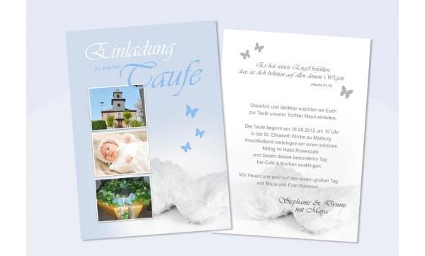 "Einladung Taufe ""Maya"", Taufeinladung, Postkarte 10x15 cm, flieder"