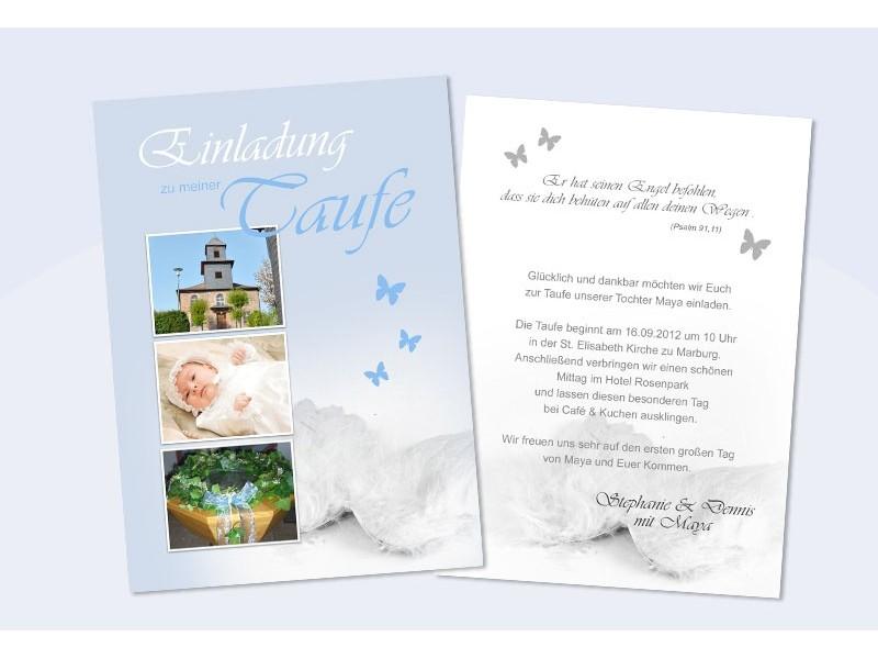 Einladung Taufe, Taufeinladung, Fotokarte, Einladungskarten, creme