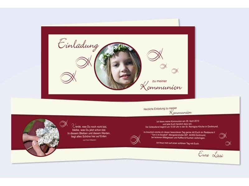 einladungskarte, karte kommunion, konfirmation, fische