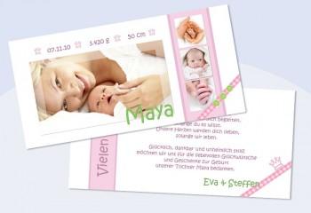 "Danksagungskarte zur Geburt, ""Maya"" in rosa"