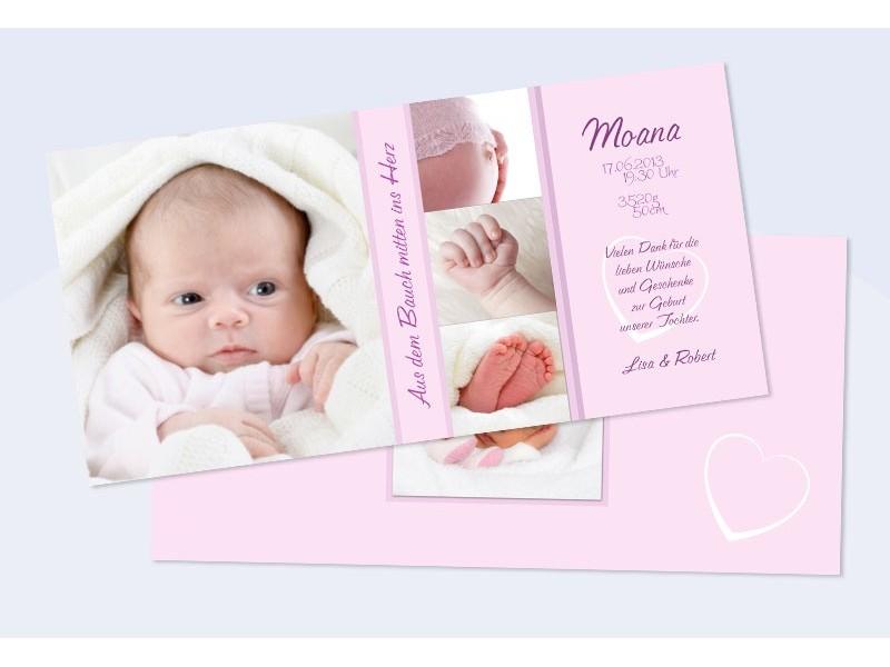 Danksagungskarte zur Geburt, creme, Junge, Mädchen,