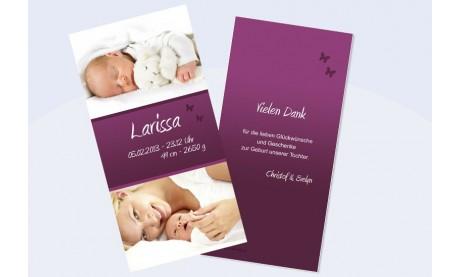 """Danksagungskarte zur Geburt, """"Larissa"""" in brombeere"""