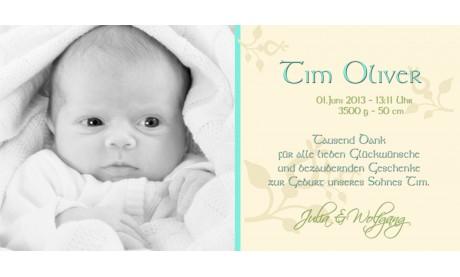 "Danksagungskarte zur Geburt, ""Emilia"" in creme"