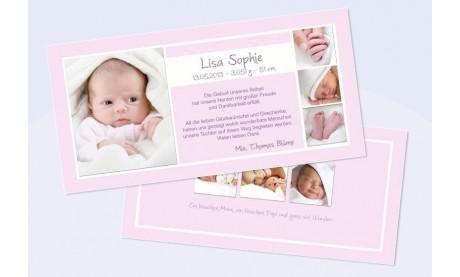 """Danksagungskarte zur Geburt, """"Lisa Sophie"""" in rosa"""