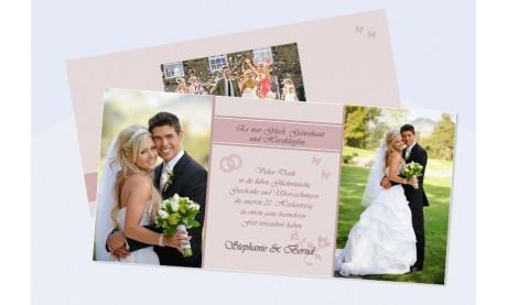 Danksagungskarte, Karte Hochzeit, rosa Zauber
