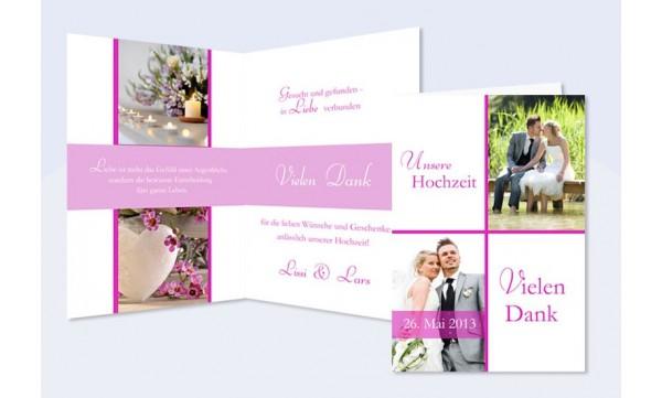 Dankeskarte Hochzeit, Klappkarte A6, weiß pink