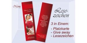 Lesezeichen, Platzkarte Hochzeit, 5x20 cm, rot