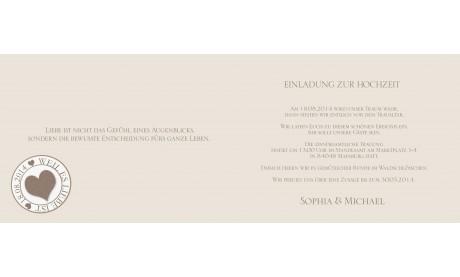 Einladungskarte Hochzeit, Klappkarte A6, Rosenblüten creme