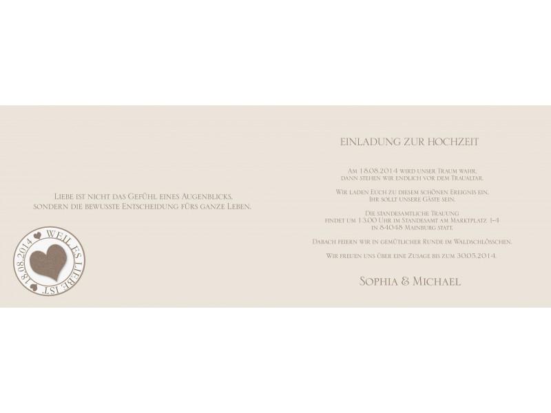 einladungskarte hochzeit, klappkarte a6, briefmarke + stempel, Einladung