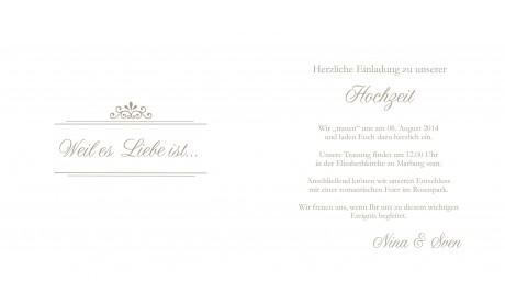 Edle Einladungskarte Hochzeit weiß braun Klappkarte Quadrat
