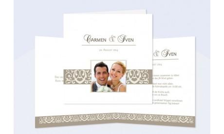 """Einladung Hochzeit """"braungraue Ranke"""", Klappkarte Quadrat"""
