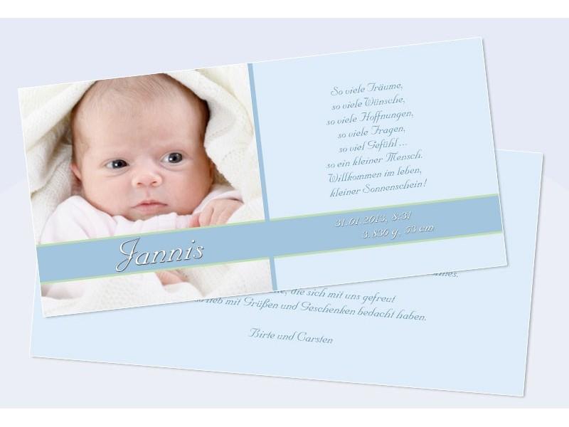 Danksagungskarte zur Geburt, Junge, Mädchen, hellblau