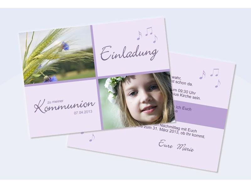 einladungskarten konfirmation kommunion flieder, Einladungsentwurf
