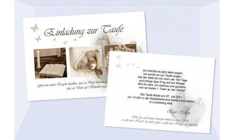 "Einladung Taufe ""Kilian"", Taufeinladung, Postkarte, braun"
