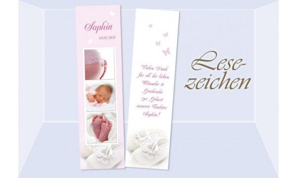 Lesezeichen Geburt, 5x20 cm, rosa