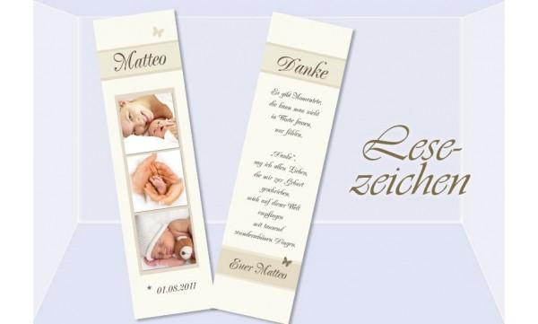 Lesezeichen zur Geburt, 5x20 cm, creme